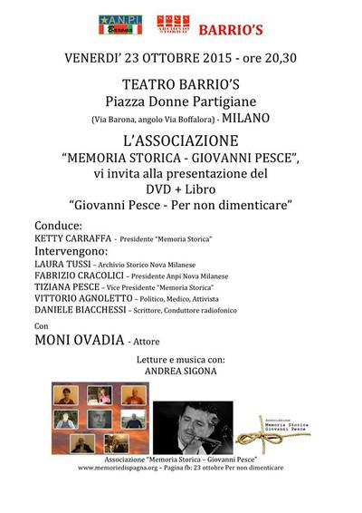 """Con Moni Ovadia e con tutti gli Autori del Libro/Dvd """"Giovanni Pesce. Per non dimenticare"""" Mimesis 2015"""