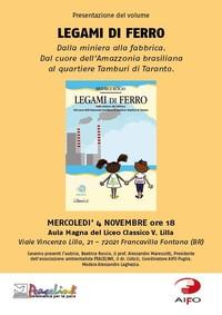 Mercoledì 4 Novembre presentazione libro LEGAMI DI FERRO.