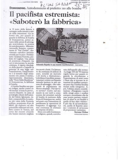 Antonello Repetto: Pacifista contro fabbrica bombe Sulcis