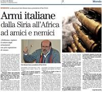 Armi italiane dalla Siria all'Africa ad amici e nemici
