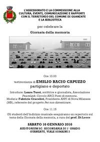 Il Giorno della Memoria con le Scuole di Guanzate (Como)