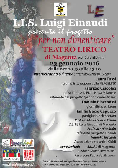 Giorno della Memoria 2016 al Teatro Lirico di Magenta