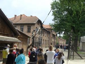 """Ingresso del campo di concentramento di Auschwitz con la famosa scritta in ferro battuto """"il lavoro rende liberi""""."""