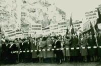 Ponte San Luigi. Manifestazione del Movimento Federalista Europeo per abbattere le frontiere, 1952