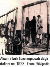 Alcuni ribelli libici impiccati nel 1928 (dalle truppe italiane invasori).