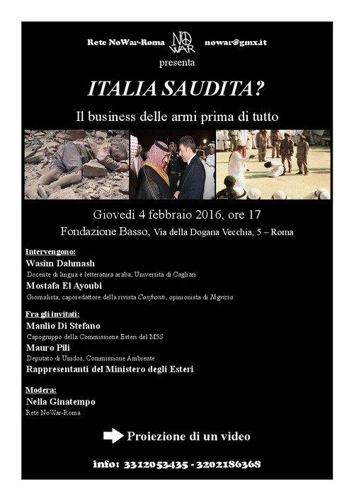 """""""ITALIA SAUDITA?"""": i fatti e misfatti del regime saudita in un convegno a Roma"""