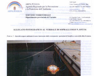 Documento Arpa Puglia su sversamento Cavour