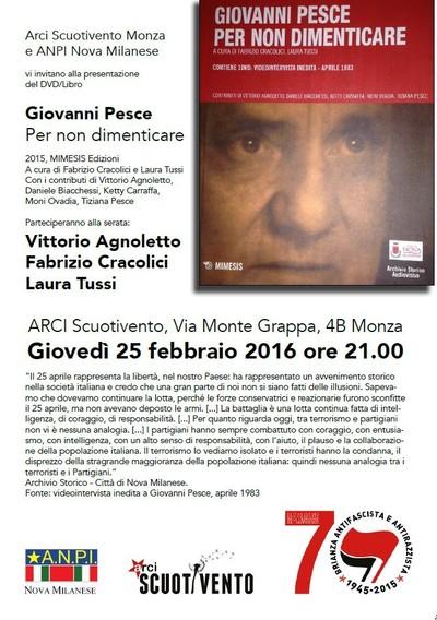 Giovanni Pesce. Per non dimenticare con Vittorio Agnoletto, Fabrizio Cracolici e Laura Tussi