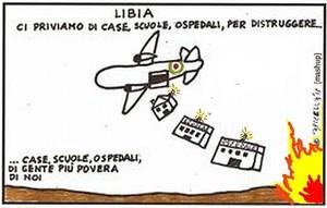 Case, scuole, ospedali colpiti duranti i raid NATO/italiani in Libia nel 2011.  Ma la NATO non si è limitata a bombardare il paese; per non dover impiegare i propri soldati di terra, ha fatto venire dal Qatar e dall'Arabia Saudita feroci jihadisti per fare l'assalto al palazzo di Gheddafi, molti dei quali sono diventati oggi i miliziani ISIS/Daesh.