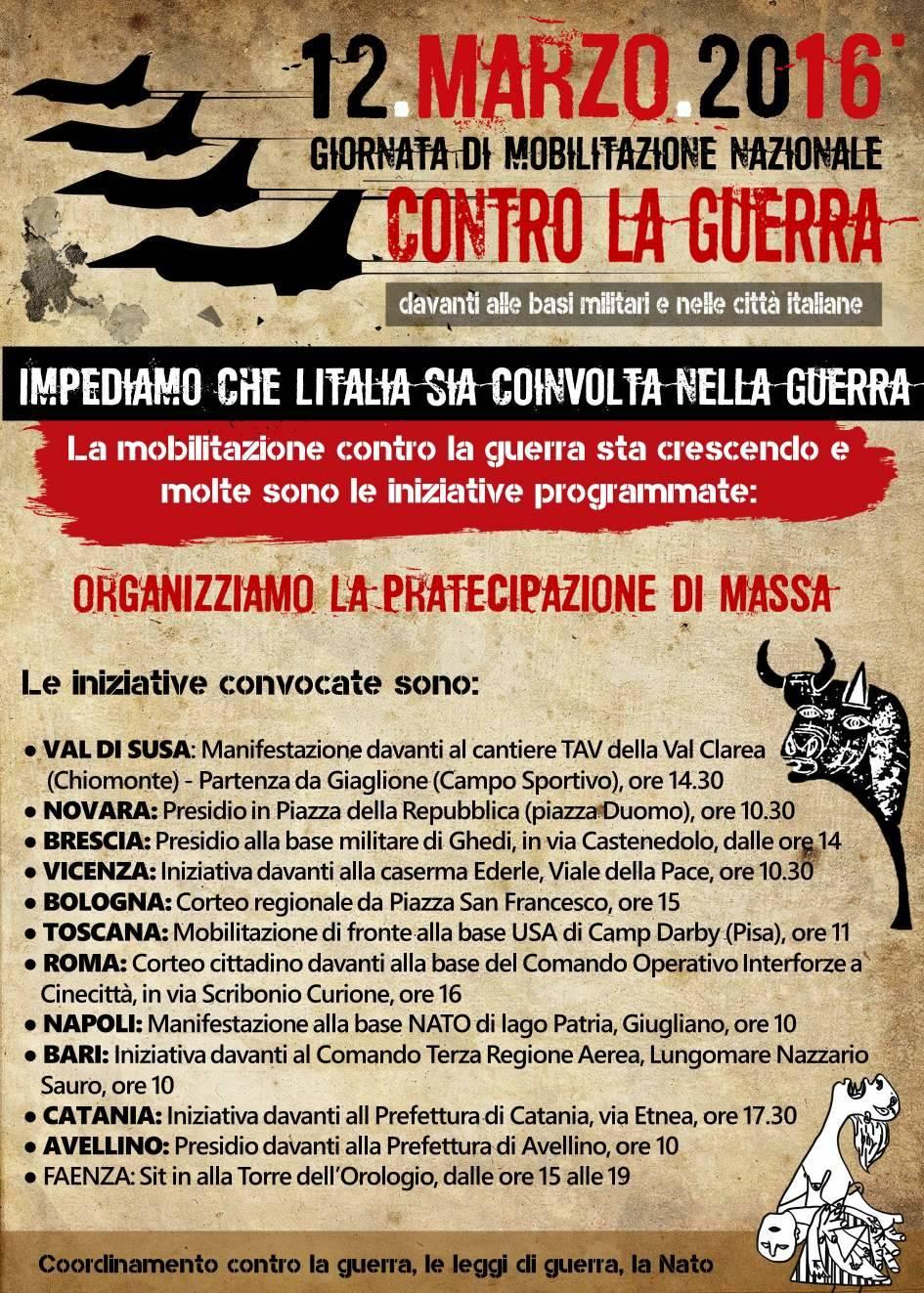 12 marzo contro la guerra