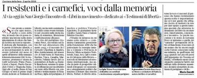 Il Corriere della Sera e il Giornale di Brescia per Libri in Movimento- Testimoni di Libertà