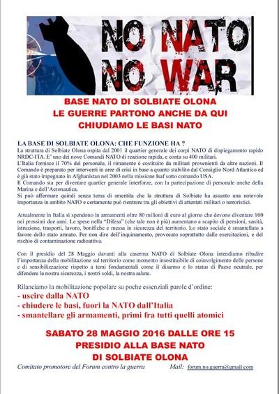 NO alle basi NATO: Presidio Sabato 28 Maggio 2016