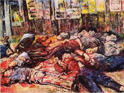 Rappresentazione dell'eccidio di Piazzale Loreto - 10 Agosto 1944 di Aligi Sassu