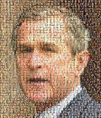 edita da American leftist la foto di bush ottenuta con quelle di soldati uccisi in Iraq