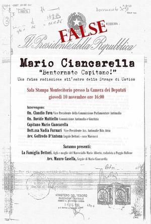Bentornato Capitano! 10 novembre, conferenza stampa alla Camera dei Deputati per chiedere che Mario Ciancarella sia reintegrato nell'Aeronautica Militare