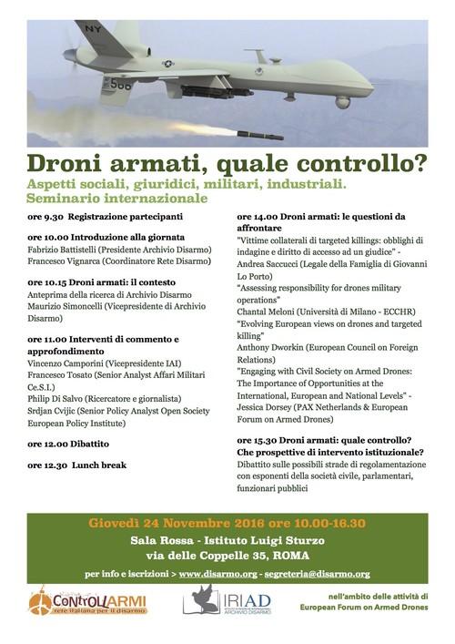 Programma definitivo - Droni armati, quale controllo?