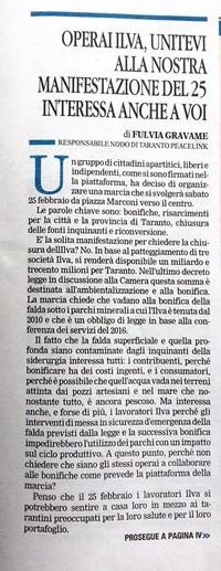 articolo pubblicato il 10 febbraio 2017 in prima pagina nell'edizione di Taranto Fotografia di Anna Svelto