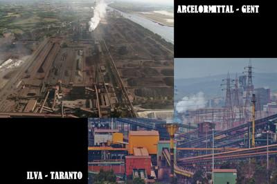 Gli stabilimenti ArcelorMittal a Gent e Ilva a Taranto