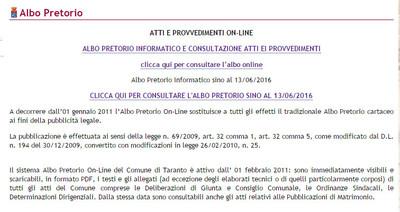 Screenshot del sito del Comune di Taranto