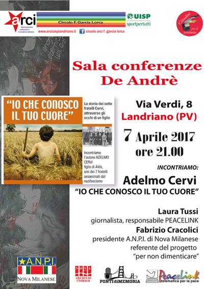 "Adelmo Cervi a Landriano (Pavia) Sala Conferenze ""Fabrizio De André"" - Venerdì 7 APRILE ore 21.00"