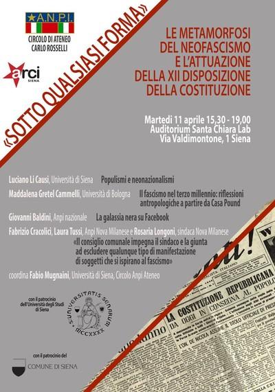 Con il Patrocinio dell'UNIVERSITA' DEGLI STUDI DI SIENA, del Comune di Siena e dell'ARCI Siena