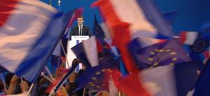 Comizio di Emmanuel Macron.