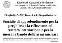 La Diocesi di Concordia-Pordenone prega e riflette sul Trattato internazionale per la messa al bando delle armi nucleari