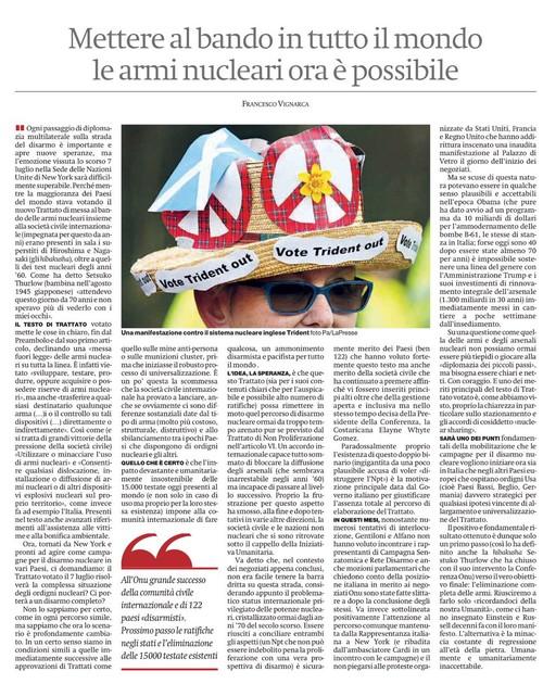 Articolo Francesco Vignarca nuclearban