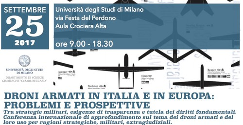 Droni armati anche in Italia: il 25 settembre una conferenza a Milano