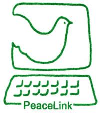 Il logo originario di PeaceLink nella carta intestata del 1992