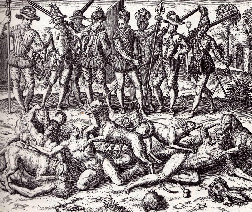 Indios sbranati dai cani sotto l'indifferenza dei soldati spagnoli