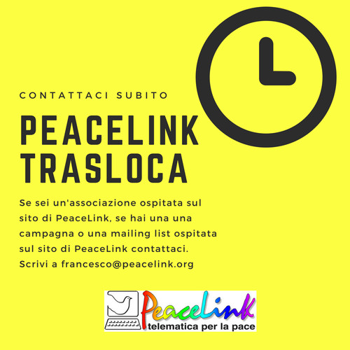 In questi giorni PeaceLink sta cambiando struttura tecnica. Le associazioni, le mailing list e le campagne ospitate nel sito vengono traslocate su un server virtuale.