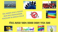 Il nuovo IBAN di PeaceLink è IT65 A050 1804 0000 0001 1154 580