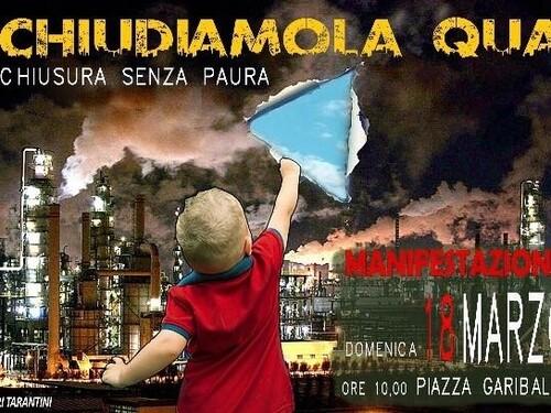 Manifestazione di protesta contro l'inquinamento ILVA a Taranto domenica 18 marzo 2018 in piazza Garibaldi