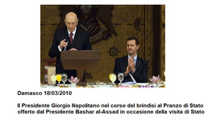 Damasco 18/03/2010  Il Presidente Giorgio Napolitano nel corso del brindisi al Pranzo di Stato offerto dal Presidente Bashar al-Assad in occasione della visita di Stato