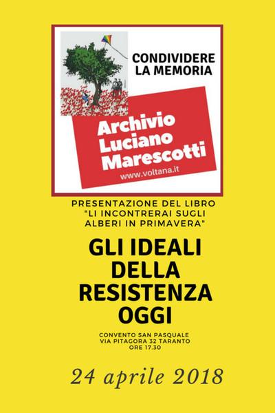 Iniziativa 24 aprile 2018 con il Logo Archivio Luciano Marescotti