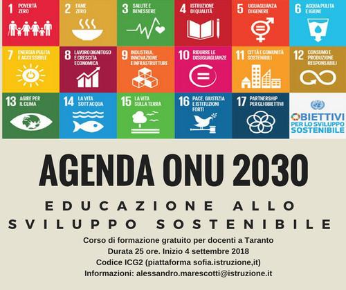 Corso di formazione alla cittadinanza globale con riferimento all'Agenda ONU 2030