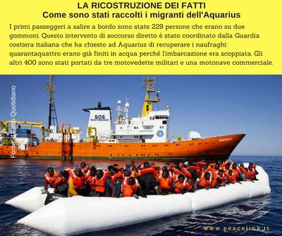 La nave Aquarius ha collaborato con le navi della Marina Militare a raccogliere migranti, e quindi andrebbe ringraziata ma Salvini fa l'esatto opposto.