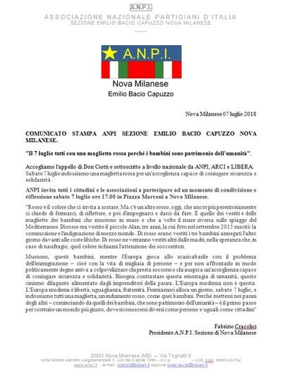 Magliette rosse per la solidarietà - Flash mob a Nova Milanese