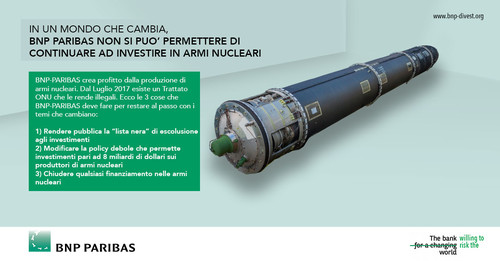 Global Day Action BNP Paribas - Totale eliminazione armi nucleari