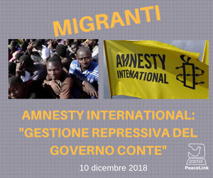 Sui migranti dura accusa di Amnesty International al governo italiano