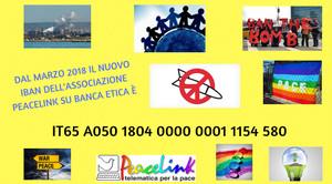 Il nuovo IBAN dell'associazione PeaceLink su Banca Etica (dal marzo 2018).