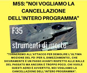 """M5s: """"Cancellazione totale del programma F35"""""""