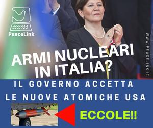 Nella foto il ministro della Difesa Elisabetta Trenta. Il suo governo sta ammodernando i bunker atomici per accogliere le bombe atomiche usa di nuova generazione