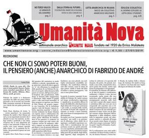 UMANITA' NOVA presenta la Recensione all'ultimo libro su Fabrizio De André a cura del Direttore di Rivista Anarchica, Paolo Finzi