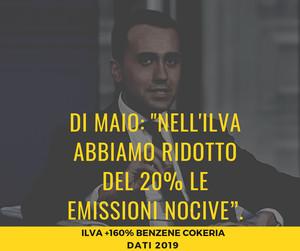 Di Maio prometteva l'8 dettembre 2018 un taglio del 20% delle emissioni ILVA. Invece le emissioni sono aumentate.