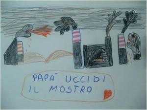 Il disegno di Federico morto nel 2015 è stato rilanciato con l'hastagnt #papàuccidilmostro