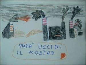 Papà uccidi il mostro, disegno di Federico un bambino di Taranto morto di tumore