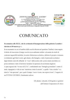 Lettera di solidarietà alle scuole e agli alunni vittime dell'inquinamento
