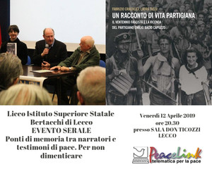 Evento serale a Lecco, ricordando il Partigiano Deportato Emilio Bacio Capuzzo